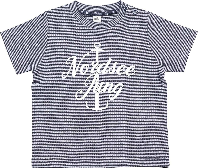 Kleckerliese Baby Kinder T-Shirt Spr/üche Jungen M/ädchen Shirt Nicki Kurzarm gestreift mit Aufdruck Motiv Nordsee Junge Anker