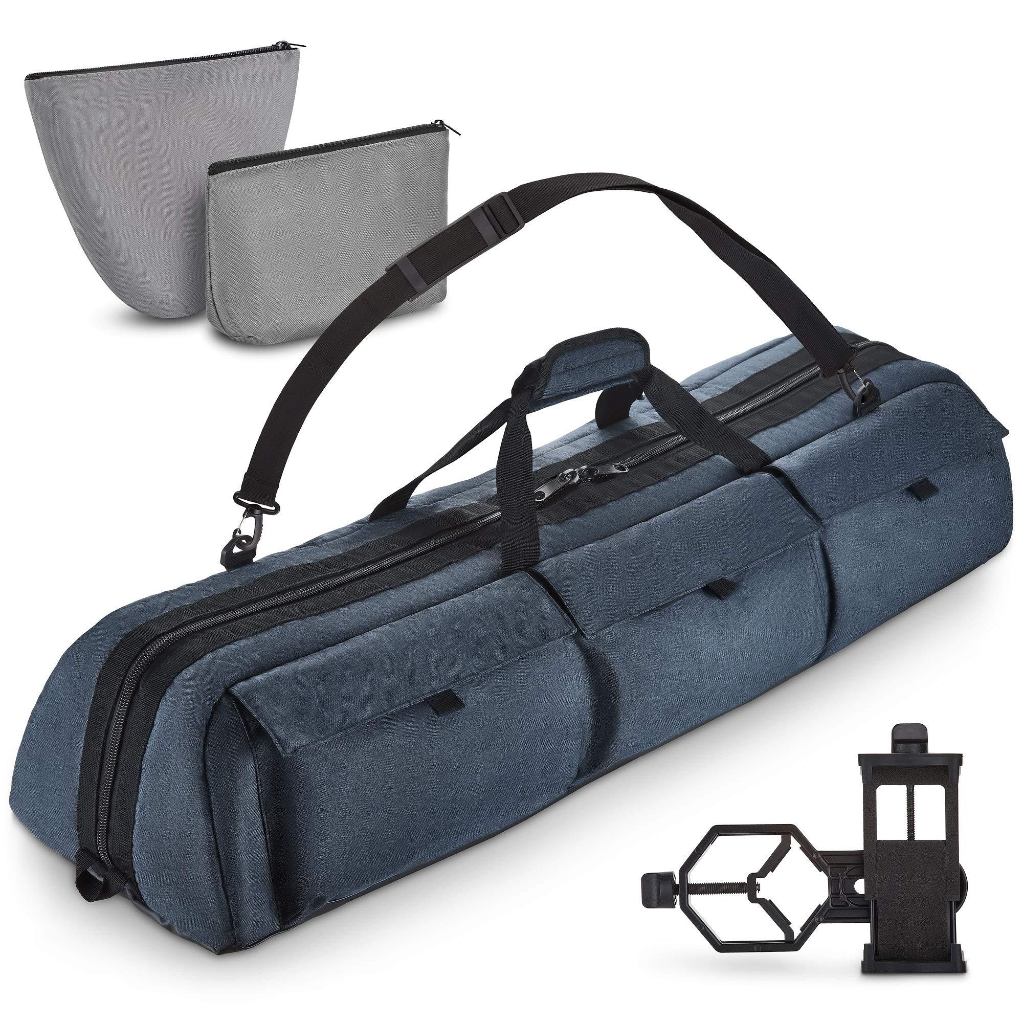Rhino BagMate Multipurpose Telescope Case - Fits Most Telescopes - 40x10.6x7 inch - Bonus Smart Phone Adapter Included by Rhino BagMate