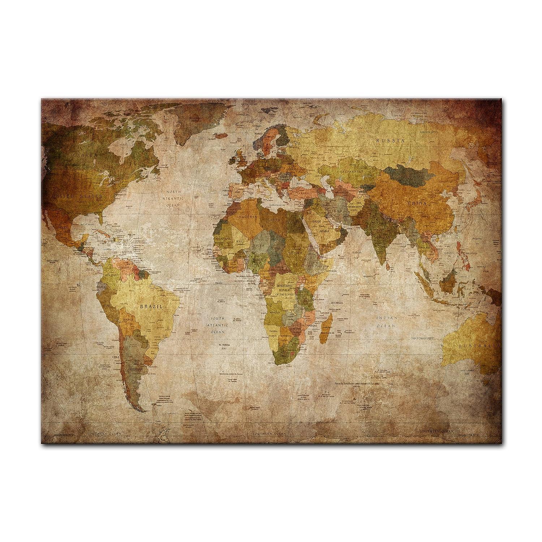 Bilderdepot24 Kunstdruck - Weltkarte retro - Bild auf Leinwand ...