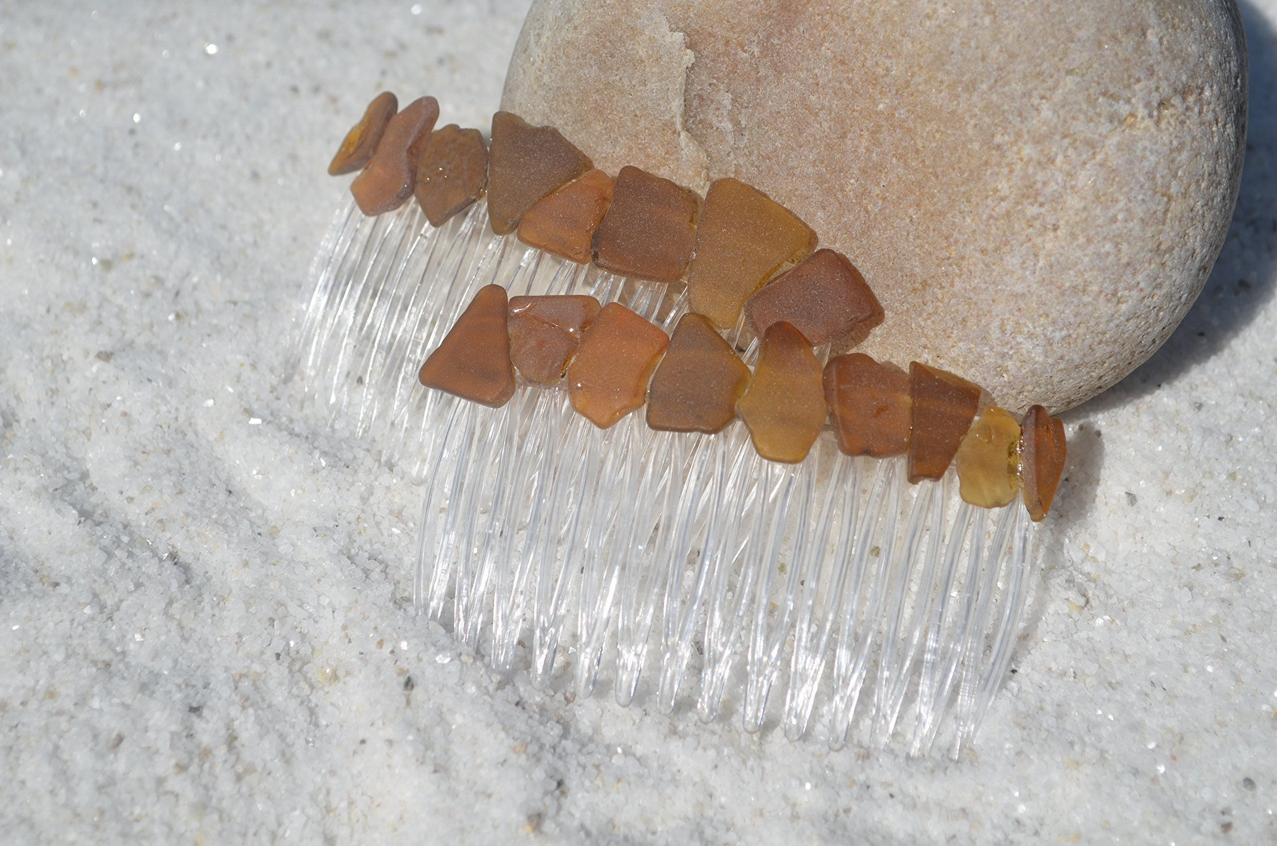Genuine Shades of Brown Sea Glass Hair Combs (Set of 2)