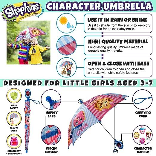 Amazon.com: Shopkins Girls Little Assorted Character Rainwear Umbrella, Blue/Pink, Age 3-7: Clothing