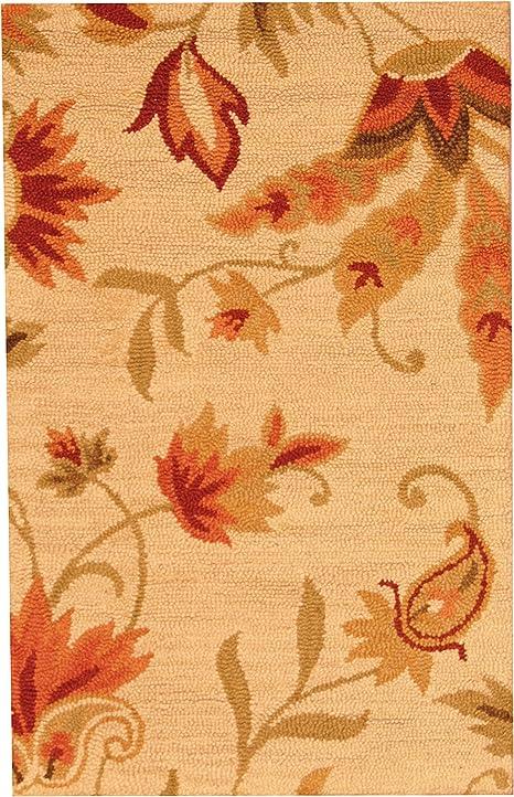 Herat Oriental Indo Hand Tufted Floral Beige Red Wool Rug 2 6 X 4 Furniture Decor