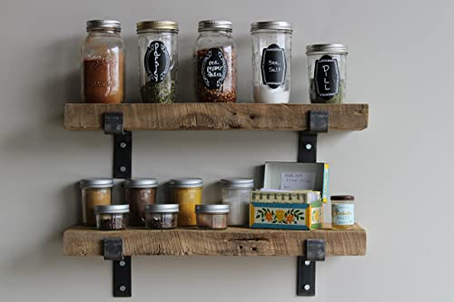 Reclaimed Wood Accent Shelves Rustic Industrial – Amish Handcrafted in Lancaster County, PA – Set of Two 24 Inches, Genuine Salvaged Reclaimed with Raw Metal Brackets Natural 24 x 7 x 2
