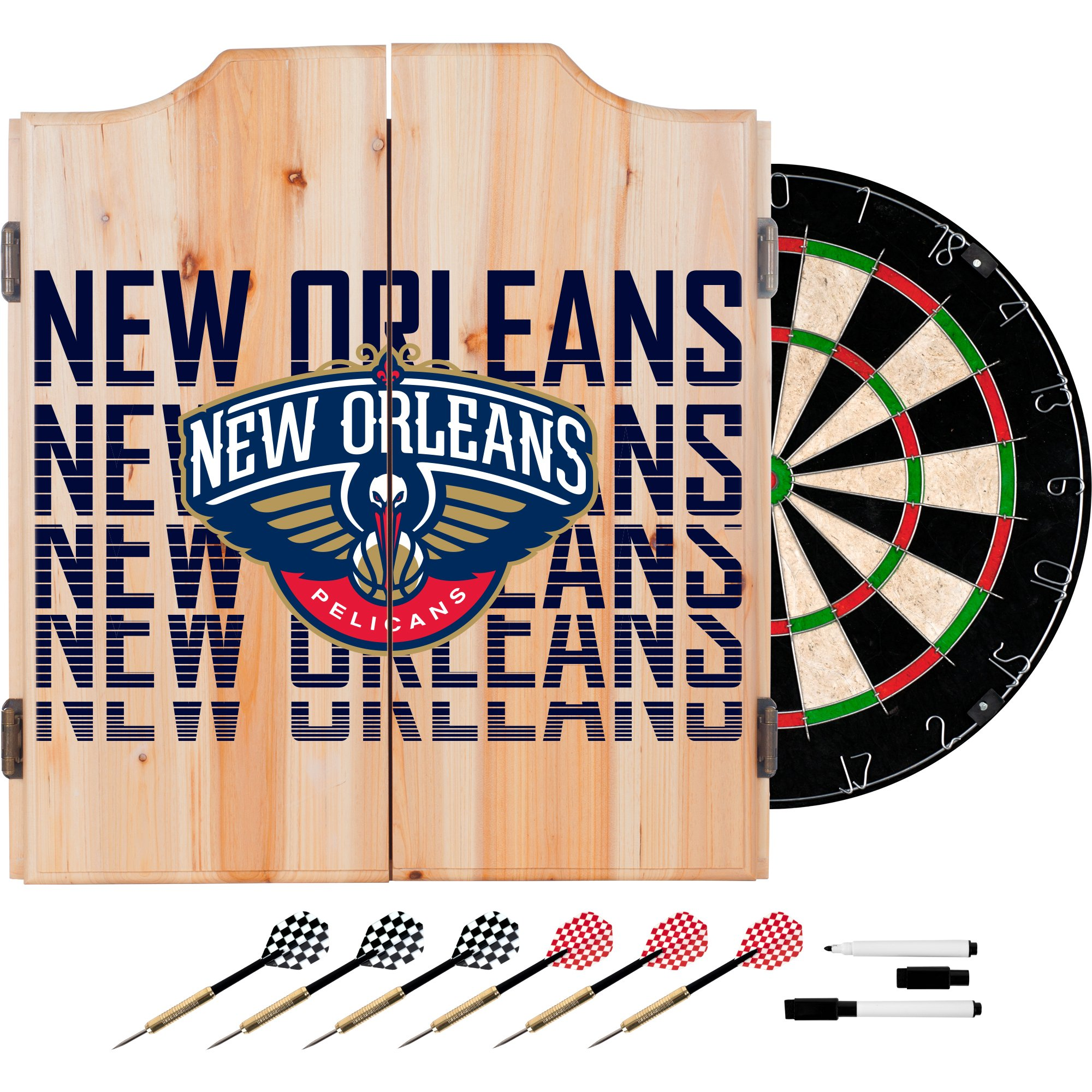 Trademark Gameroom NBA7010-NOP3 NBA Dart Cabinet Set with Darts & Board - City - New Orleans Pelicans