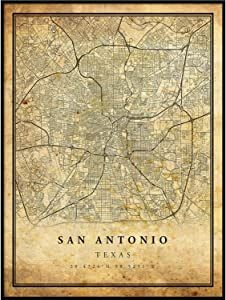 San Antonio map Vintage Style Poster Print | Old City Artwork Prints | Antique Style Home Decor | Texas Wall Art Gift | map Art 11x14