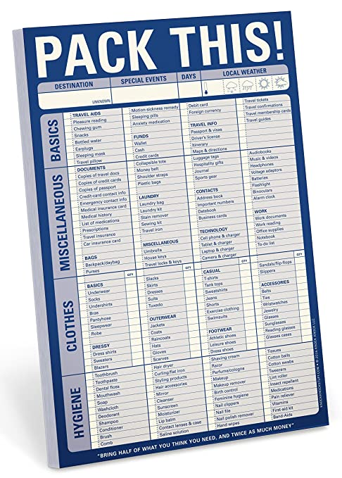 Knock Knock Pack This! Pad Packing List Notepad, 6 x 9