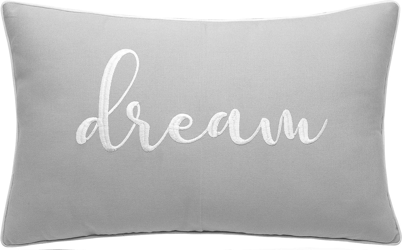 "YugTex Pillowcases Dream Pillowcase Bed Pillow Sweet Dreams Pillow Bedding Pillow Wedding Gift Housewarming Gift Couple Gift Bedroom Decor Pillow for Couch (Dream(Light Grey), 12""X20"")"