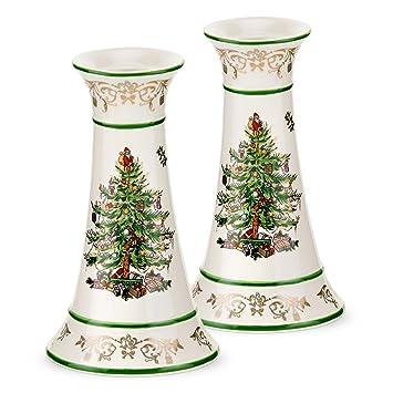 Amazon.com: Spode Christmas Tree Gold Candlesticks, Set of 2: Home ...