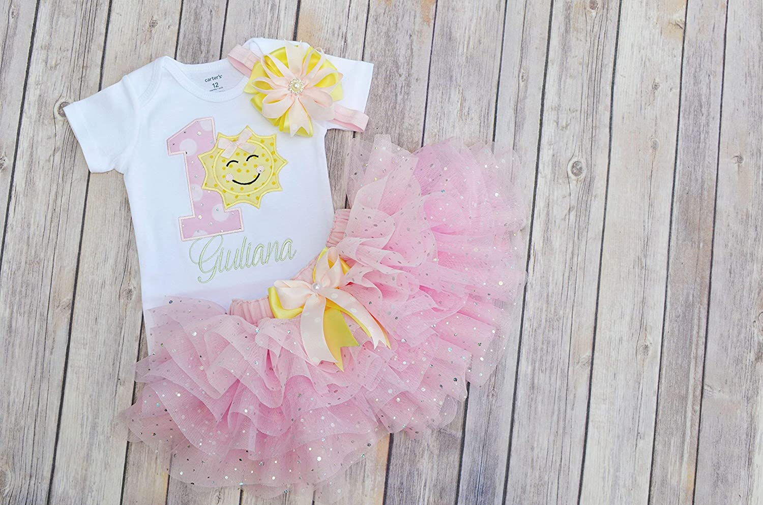 79c93a5df Amazon.com: You Are My Sunshine Birthday Outfit,first Birthday Outfit  Girl,pink yellow mint birthday,sparkly pink tutu girl,cake smash outfit  girl: Handmade
