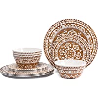 Melamine Dinnerware Set for 4-Hware 12 Piece Outdoor Dinner Plates Set (Brown)