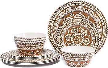 Melamine Dinnerware Set for 4-Hware 12 Piece Dinner Plates Set