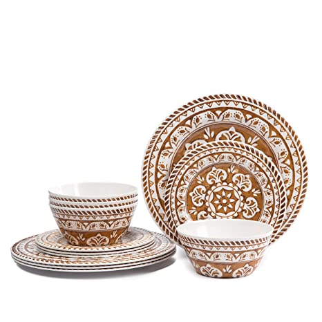 Melamine Dinnerware Set for 4- Hware 12 Piece Outdoor Dinner Plates Set,  Dishwasher Safe, Brown