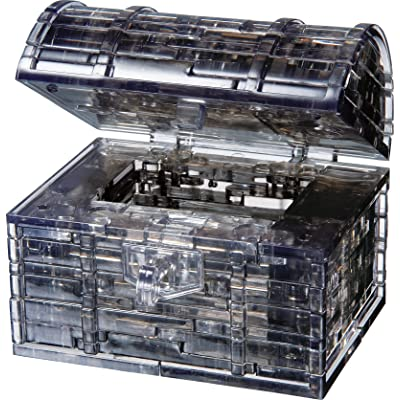 Bepuzzled Original 3D Crystal Puzzle - Treasure Chest, Black - Fun yet challenging brain teaser that will test your skills and imagination, For Ages 12+: Toys & Games