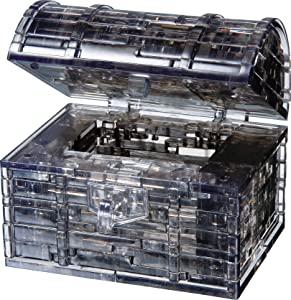 Bepuzzled Original 3D Crystal Puzzle - Treasure Chest, Black - Fun yet challenging brain teaser that will test your skills and imagination, For Ages 12+