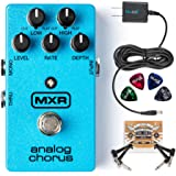 MXR M234 Analog Chorus Pedal BUNDLED WITH Blucoil Power Supply Slim AC/DC Adapter for 9 Volt DC 670mA, 2 Pack of Pedal Patch Cables AND 4 Celluloid Guitar Picks
