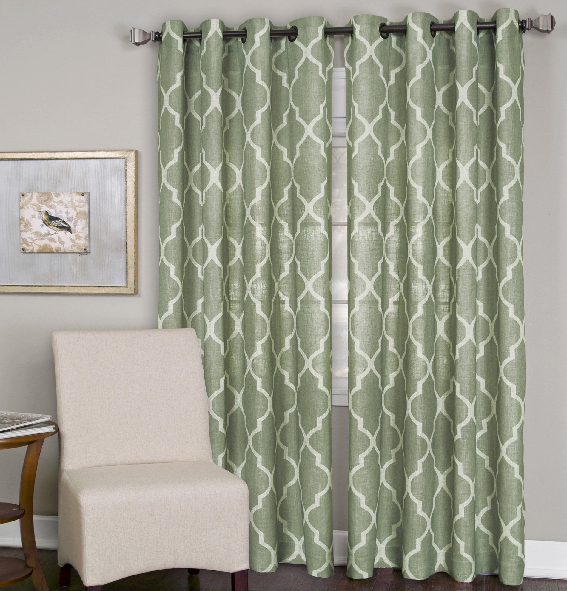 Elrene Home Fashions 026865775846 Grommet Top Linen Look Single Panel Window Curtain Drape, 52'' x 120'', Spa Green