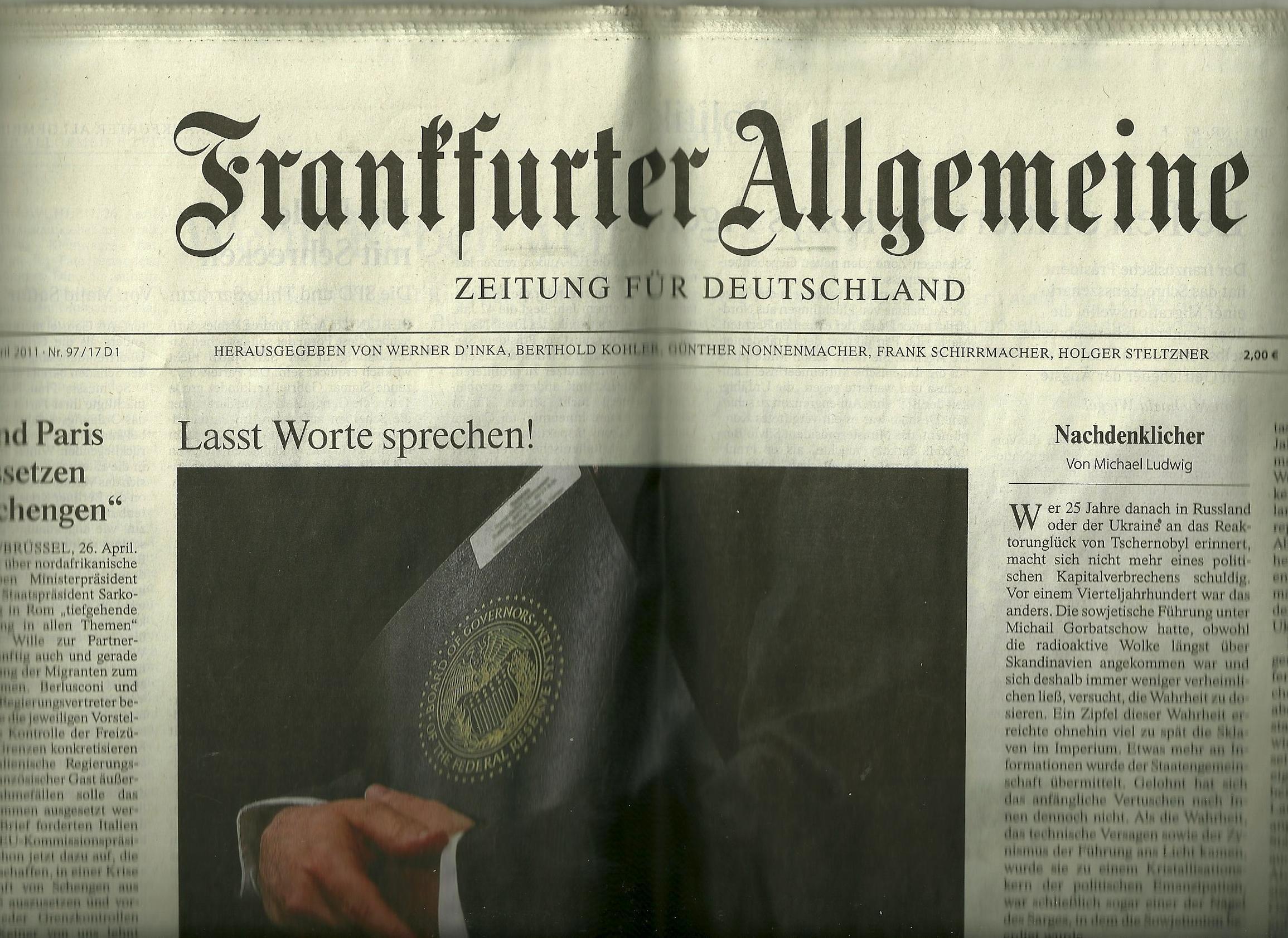 FRANKFURTER ALLGEMEINE, ZEITUNG FUR DEUTSCHLAND, MIIWOCH, 27, APRIL 2011, NR. 97/17D1: LASST WORTE SPRECHEN!DIE EUROPAER WOLLEN SYRIEN IM UN SICHERHEITSRAT VERURTEILEN UND SO WEITER pdf epub