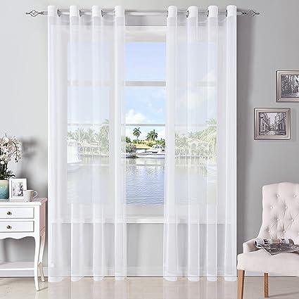 Amazon DWCN White Sheer Curtains Linen Look Semi Transparent
