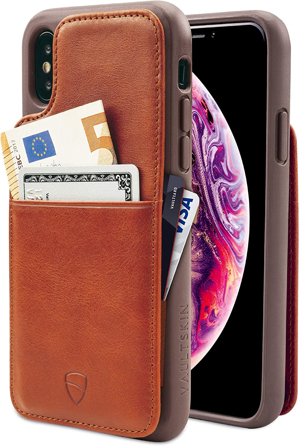 Vaultskin Eton Armour iPhone case with Leather Wallet (Cognac, iPhone X/Xs)