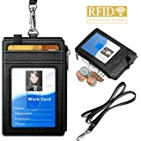 Badge Holder with Zipper ELV PU Leather ID Badge Card Holder Wallet with 5 Card Slots 1 Side RFID Blocking Zipper Pocket and 20 Neck Lanyard/Strap for Offices ID School ID Driver Licence