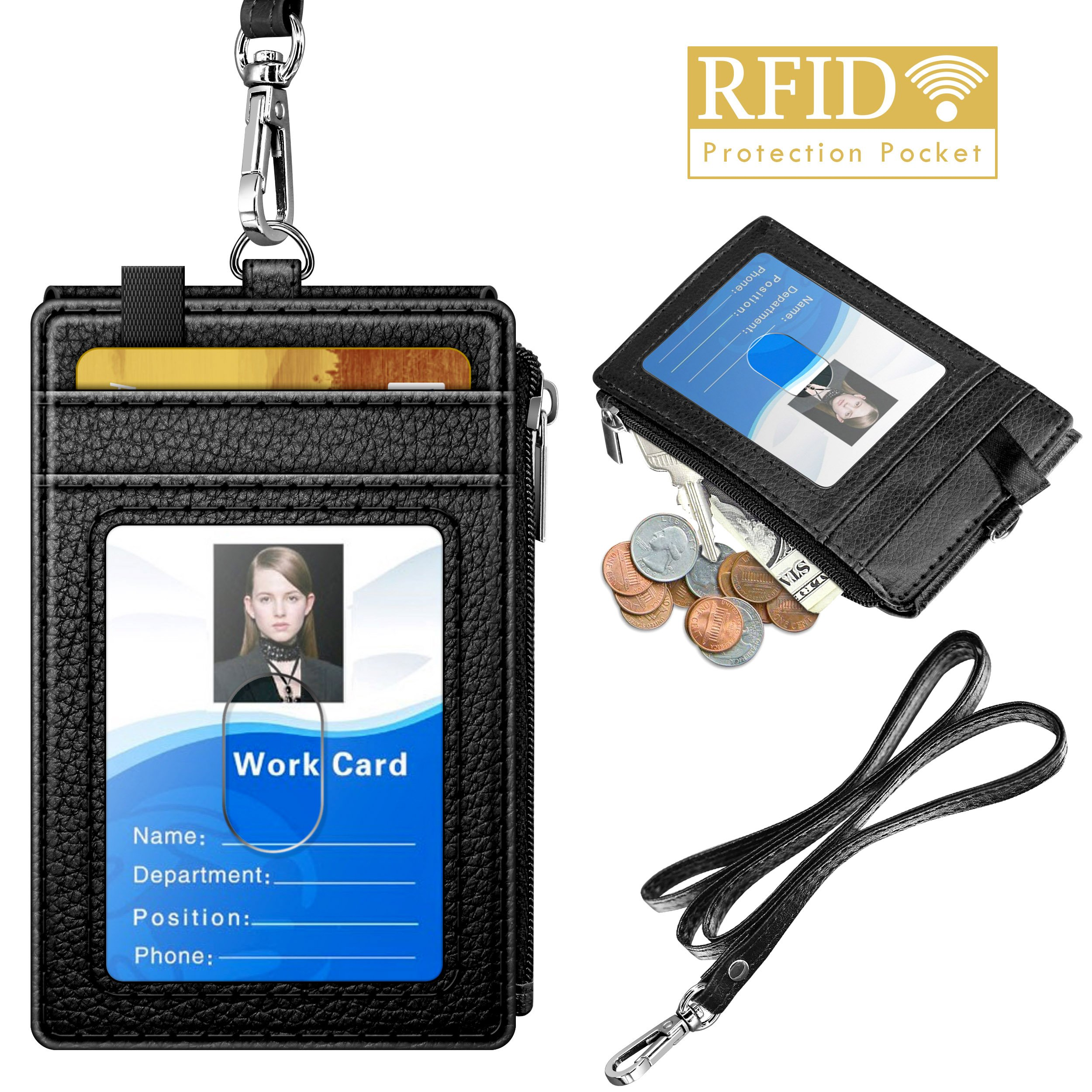 Badge Holder with Zipper, ELV PU Leather ID Badge Card Holder Wallet with 5 Card Slots, 1 Side RFID Blocking Pocket and 20'' Neck Lanyard/Strap for Offices ID, School ID, Driver Licence (Black)
