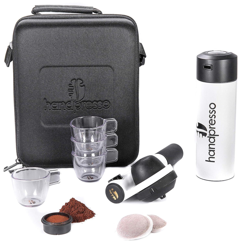 Handpresso Pump Set Blanco 48301 Set con cafetera espresso portátil e manual para monodosis ESE o café molido: Amazon.es: Hogar