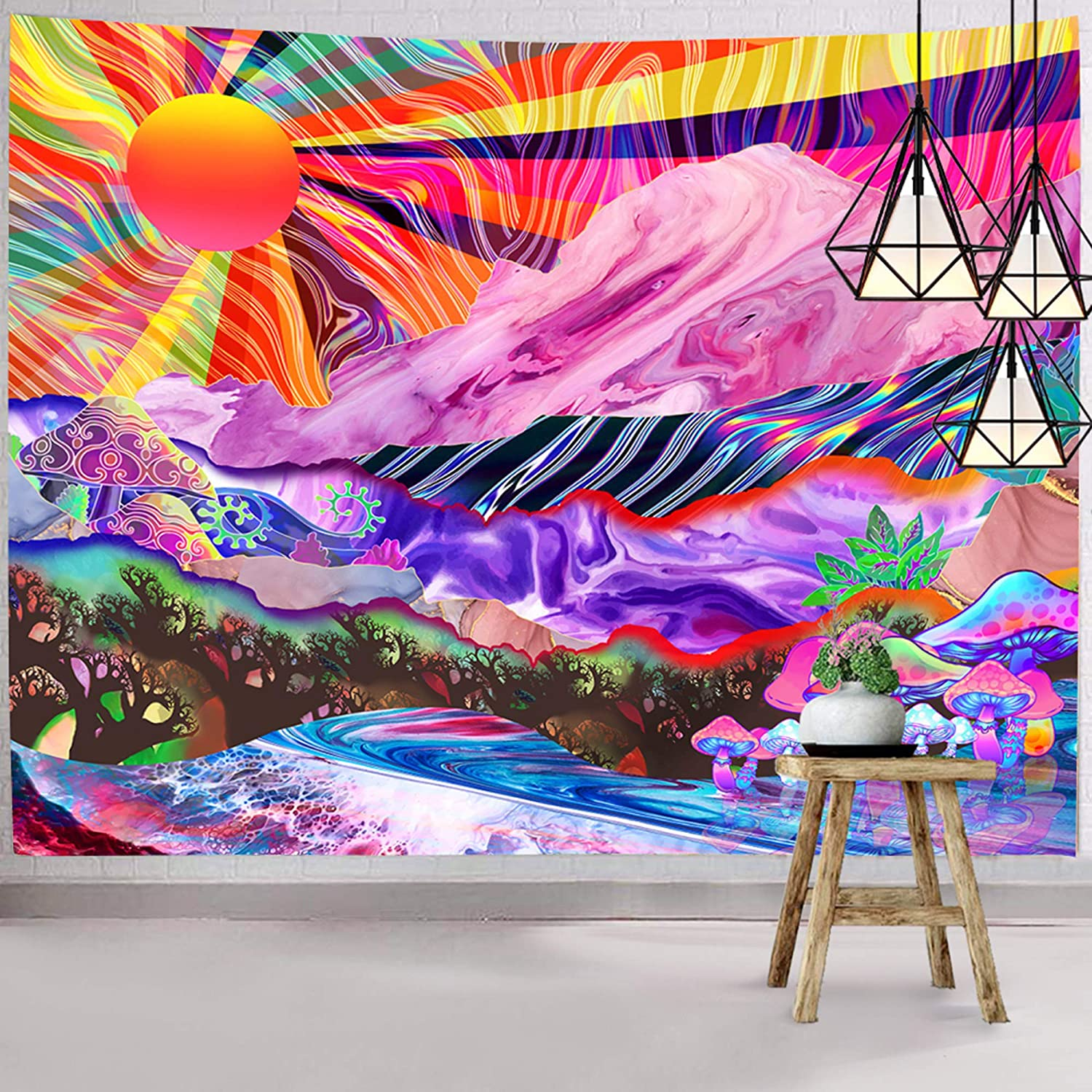 Hexagram Trippy Mountain Tapesetry Psychedelic Mushroom Tapestry Wall Hanging Hippie Colorful Nature Landscape Wall Tapestry for Bedroom Living Room Dorm Home Decoration