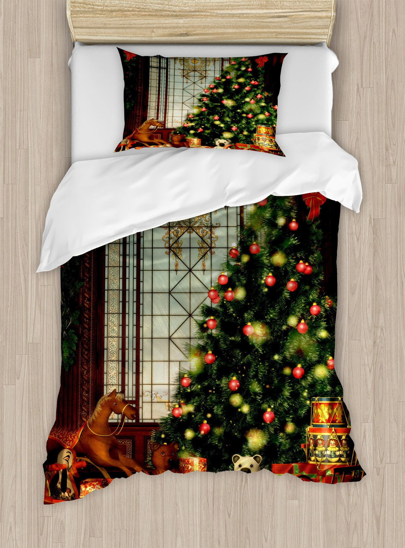 Ambesonne Christmas Duvet Cover Set Twin Size, Magical Vintage Ambiance Big Old Fashioned Window Xmas Tree Various Presents, Decorative 2 Piece Bedding Set with 1 Pillow Sham, Brown Red Green