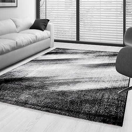 SIMPEX Tapis Moderne Design Salon Abstrait Sable Motif Noir ...
