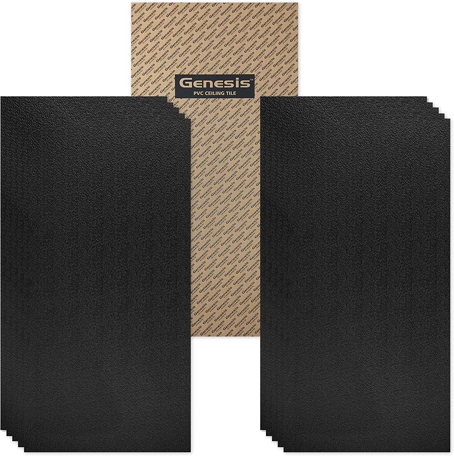 Genesis 2ft x 4ft Black Stucco Pro Ceiling Tiles - Easy Drop-in Installation – Waterproof, Washable and Fire-Rated - High-Grade PVC to Prevent Breakage - Package of 10 Tiles