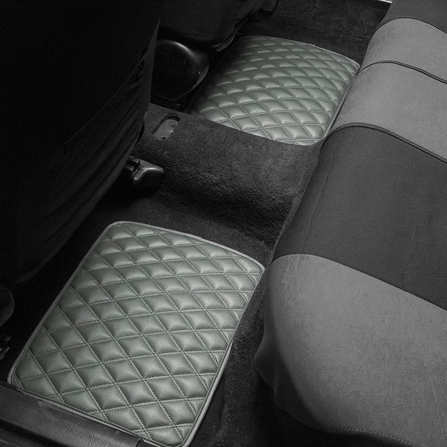 High Tech 3-D Anti-Skid//Slip Backing FH Group F12001BROWN Brown-Pattern Luxury Universal All-Season Heavy-Duty Faux Leather Car Floor Mats Stripe Design w