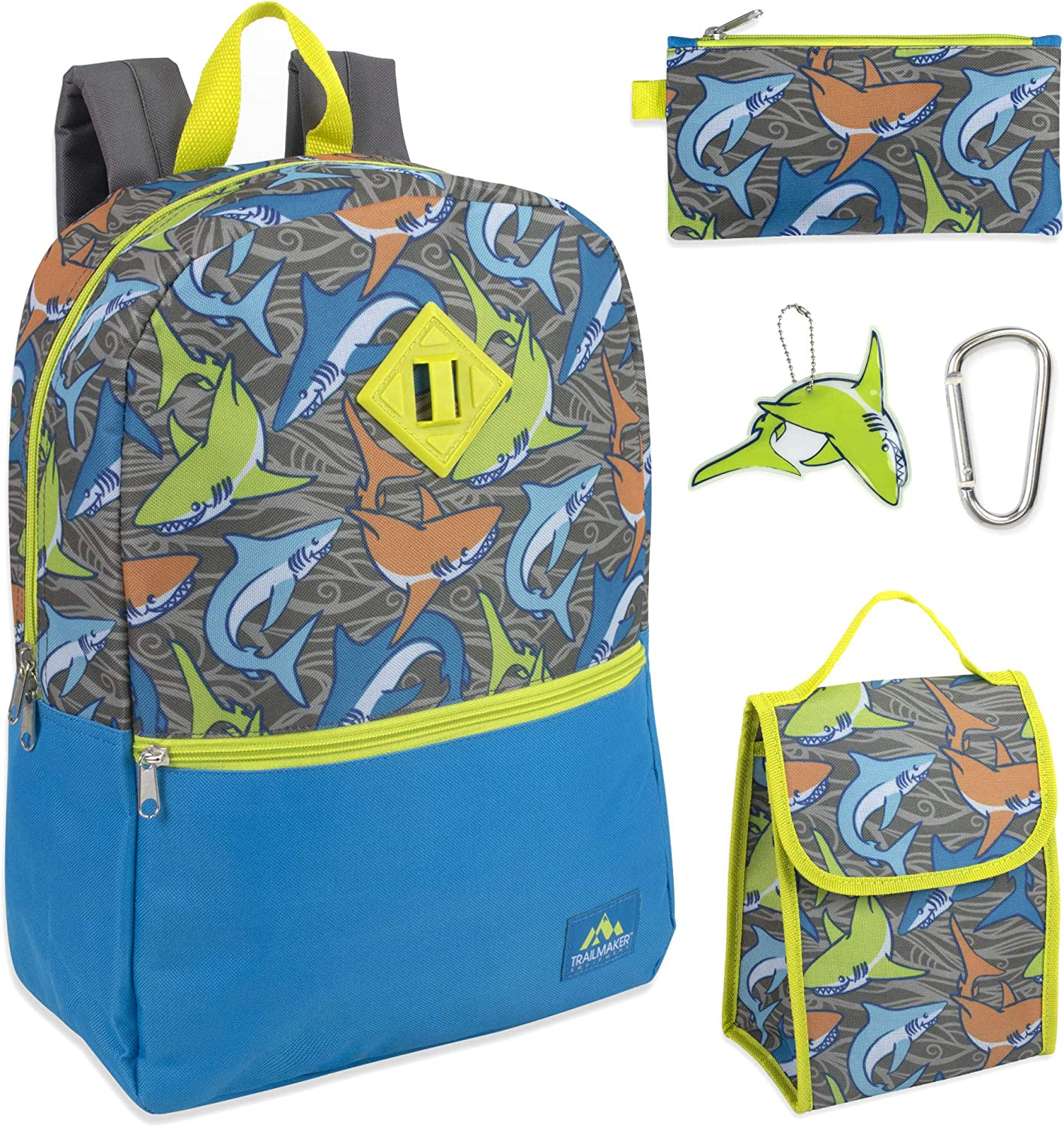 Trailmaker 5 in 1 Full Size Character School Backpack and Lunch Bag Set For Boys