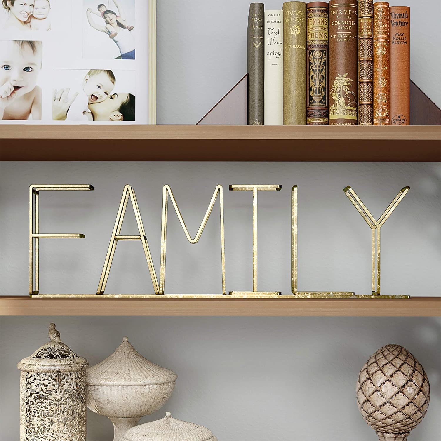 Lavish Home Cutout Free-Standing Table Top Sign-3D Family Word Art Accent Decor with Gold Metallic Finish-Modern, Classic, or Farmhouse Style