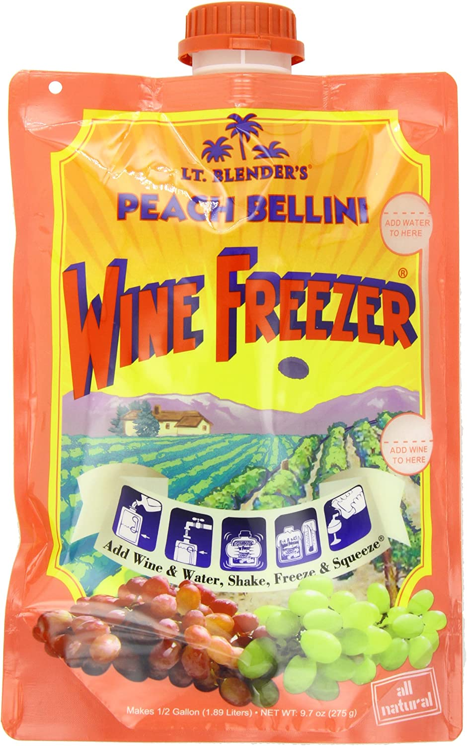 Lt. Blender Wine Freezer, Peach Bellini, 9.7-Ounce Pouches (Pack of 3)