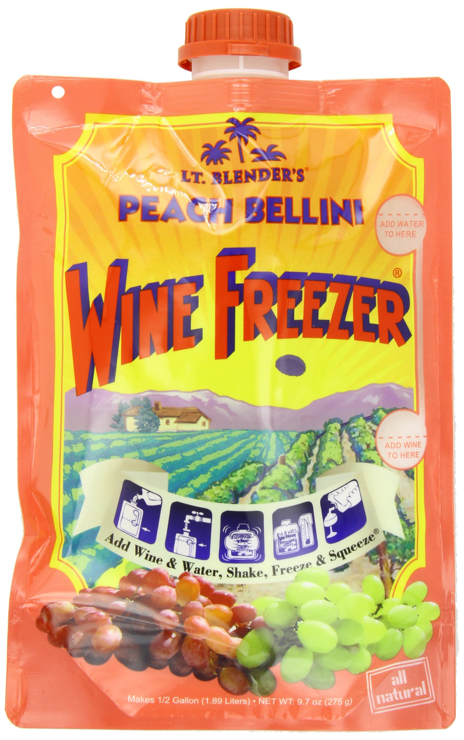 Lt. Blender's Wine Freezer, Peach Bellini, 9.7-Ounce Pouches (Pack of 3)