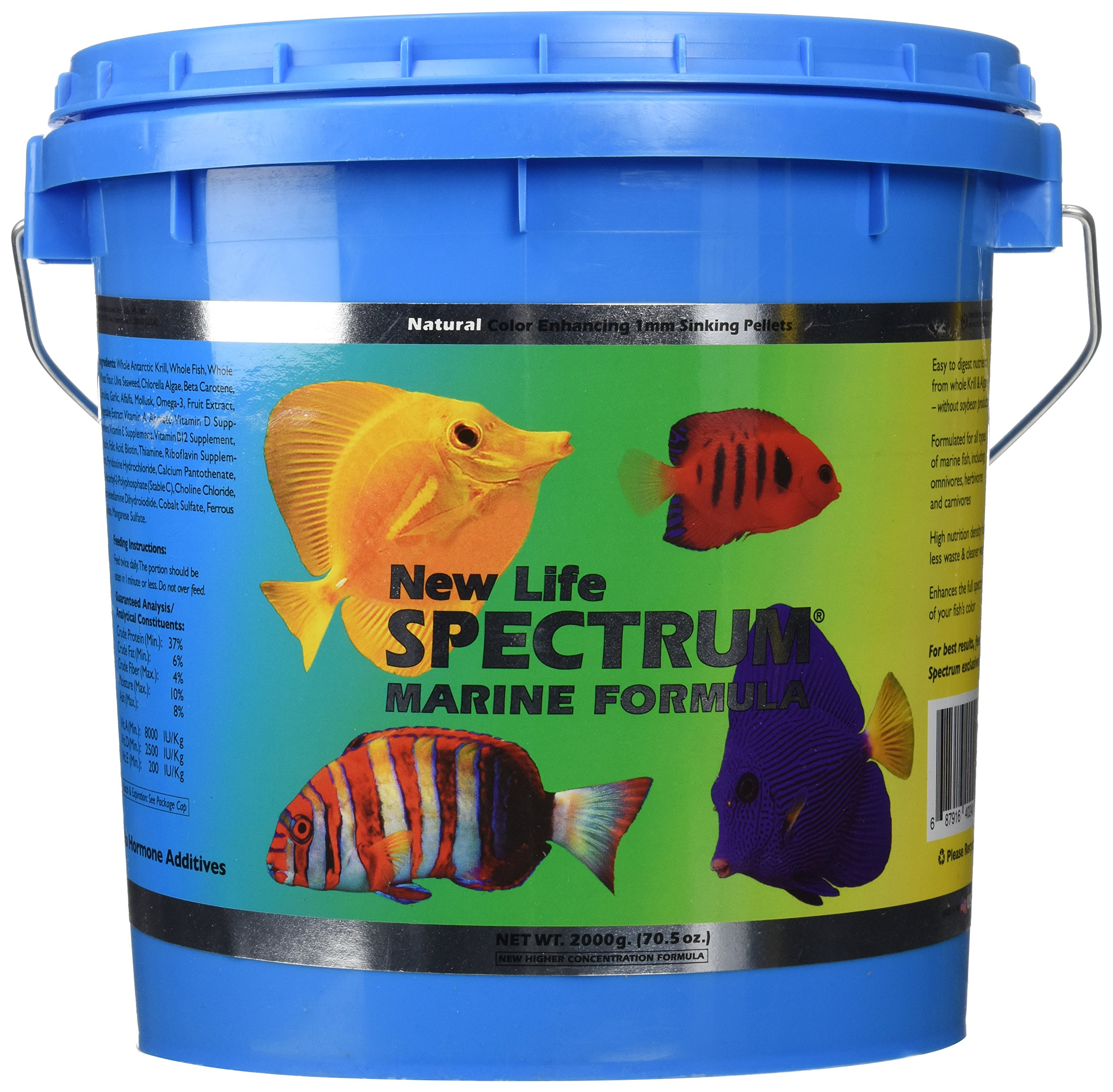 New Life Spectrum Marine Fish Formula 1mm Sinking Saltwater - 2000g by New Life Spectrum (Image #1)