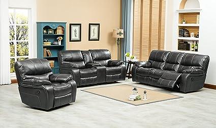 Charmant FurnitureMaxx Ewa Grey Leather Air Reclining Sofa, Loveseat And Recliner  Chair
