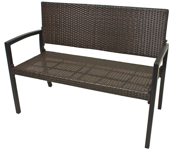 Gartenbank Parkbank Sitzbank 2-Sitzer aus Kunststoffgeflecht und Aluminium in der Farbe Coffee