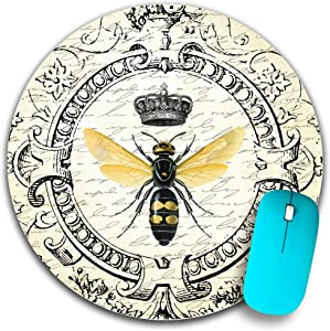 Round Mouse Pad,Personalized Art Bee Design Mousepad, Computer Mousepads with Non-Slip Rubber Base, Mouse Pads for Computers, Laptop, Office & Home, 7.9x7.9x0.125 Inch
