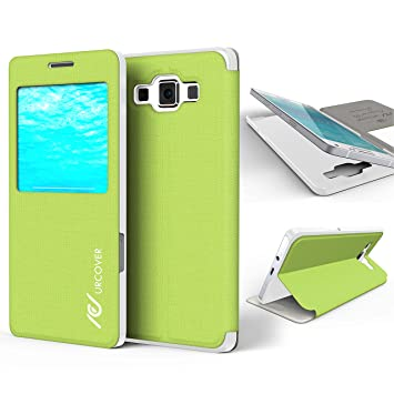 Urcover® Samsung Galaxy A5 2015 | View Case Funda Protectora | Cross Pattern en Verde | Carcasa Protección Completa Case Cover Smartphone Móvil ...