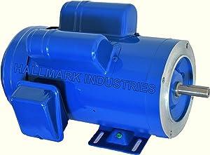 Hallmark Industries MA0515A AC Motor, 1-1/2 hp, 1725 RPM, 1PH/60 hz, 115/208-230V AC, 56C/TEFC, Cap Start&Run, with Foot, SF 1.15, Steel (Pack of 1)