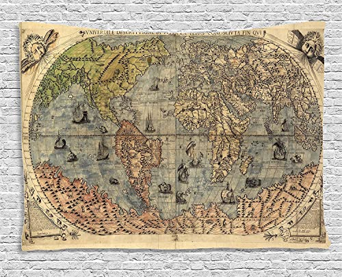 Ambesonne Antique Tapestry, Map of World Global History Stained Paper Oceans Lands Vintage Atlas, Wide Wall Hanging for Bedroom Living Room Dorm, 60 X 40 , Cream Green