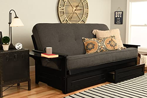 Kodiak Furniture Phoenix Full Size Futon in Black Finish, Linen Charcoal