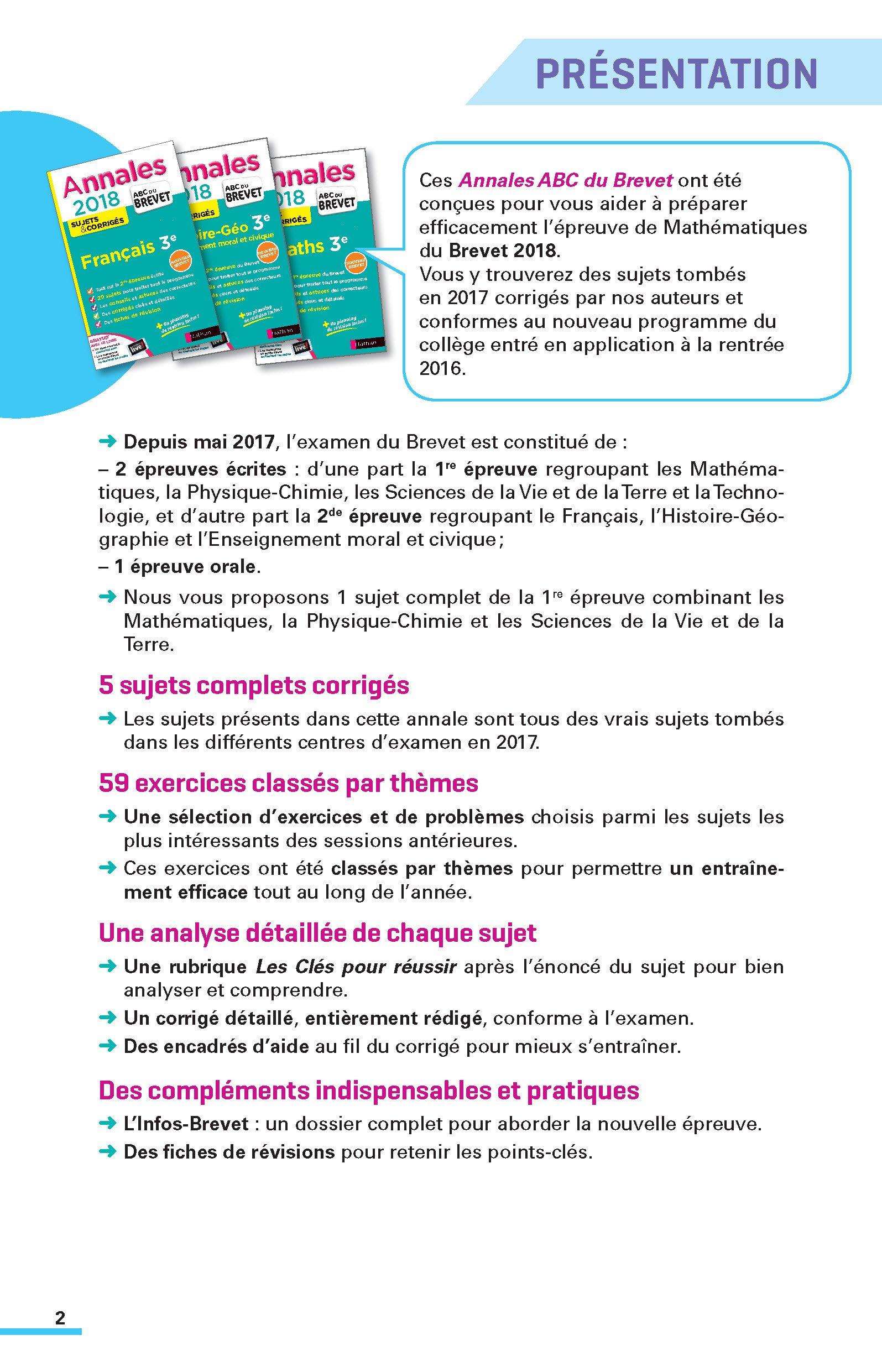 Annales Brevet - Maths 3e - Corriges - 2018 Annales ABC du Brevet: Amazon.es: Collectif: Libros en idiomas extranjeros