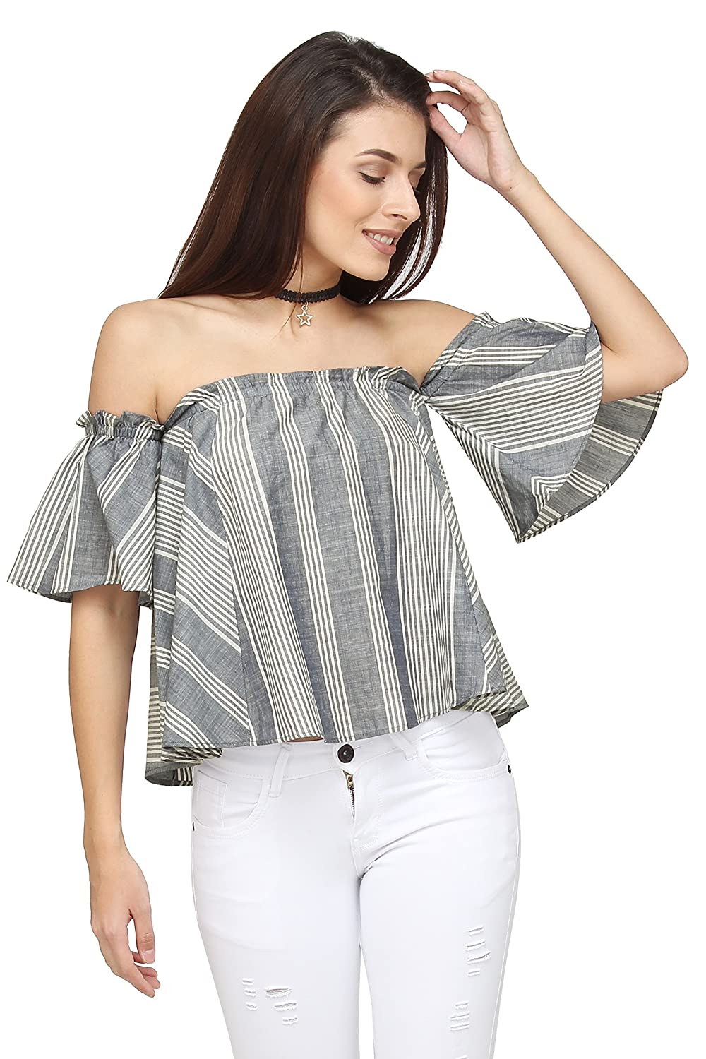 6fa8b1cb811 Design: Blue and White Stripe Cotton Top . Off Shoulder Silhouette with  Short Sleeves... Fabric: Cotton Ocassion: Casual, Daily Wear, Day Party, ...
