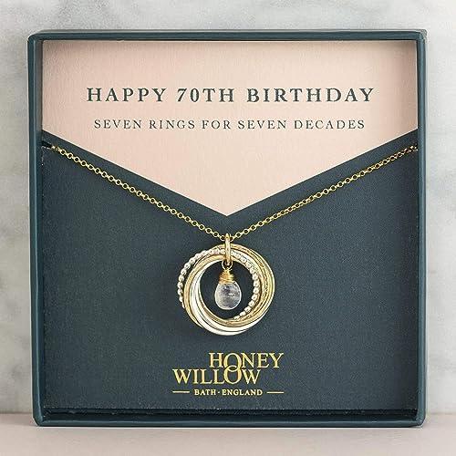 70th Birthday Gift for Mom Grandma Nana 7 Rings for 7 Decades 7th Anniversary Birthstone Necklace 70th birthday gift women