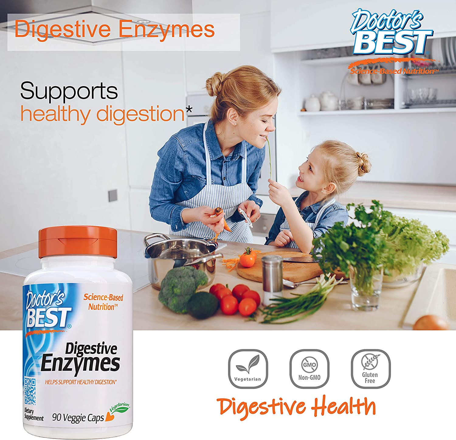 Doctor's Best Digestive Enzymes, Non-GMO, Vegetarian, Gluten Free, 90 Veggie Caps: Health & Personal Care
