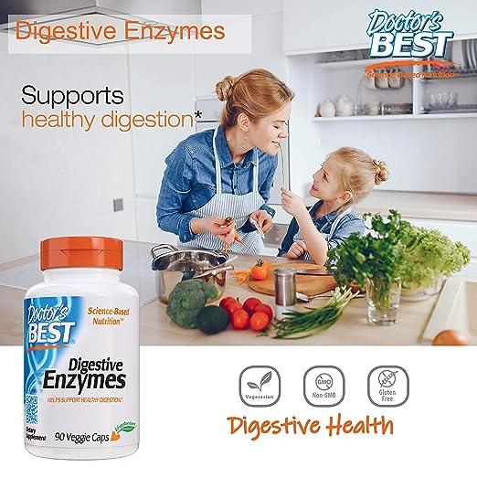Doctors Best Digestive Enzymes, Non-GMO, Vegetarian, Gluten Free, 90 Veggie Caps