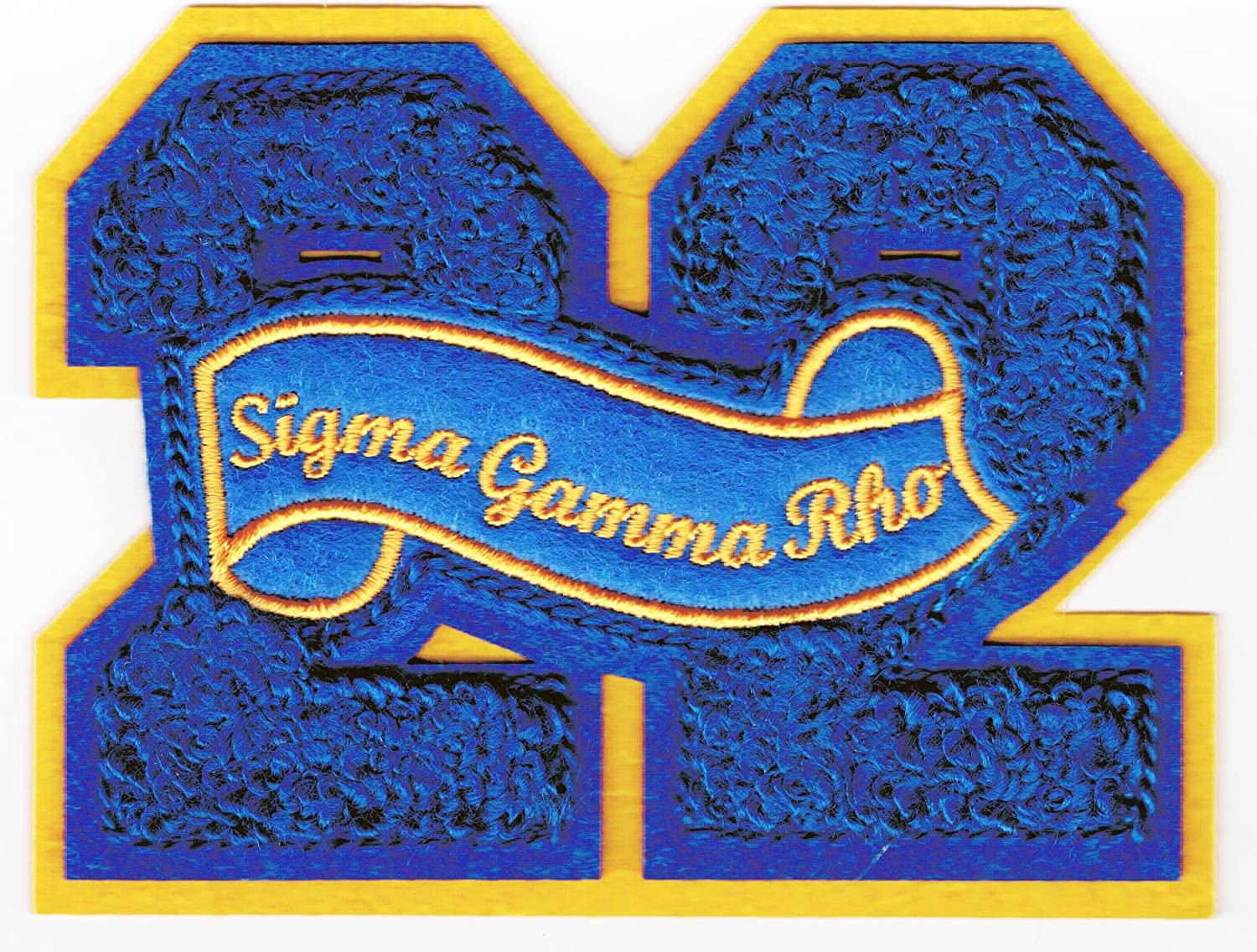 Blue - 4x4 Sigma Gamma Rho 22 Founded Year Chenille Felt Sew-On Patch