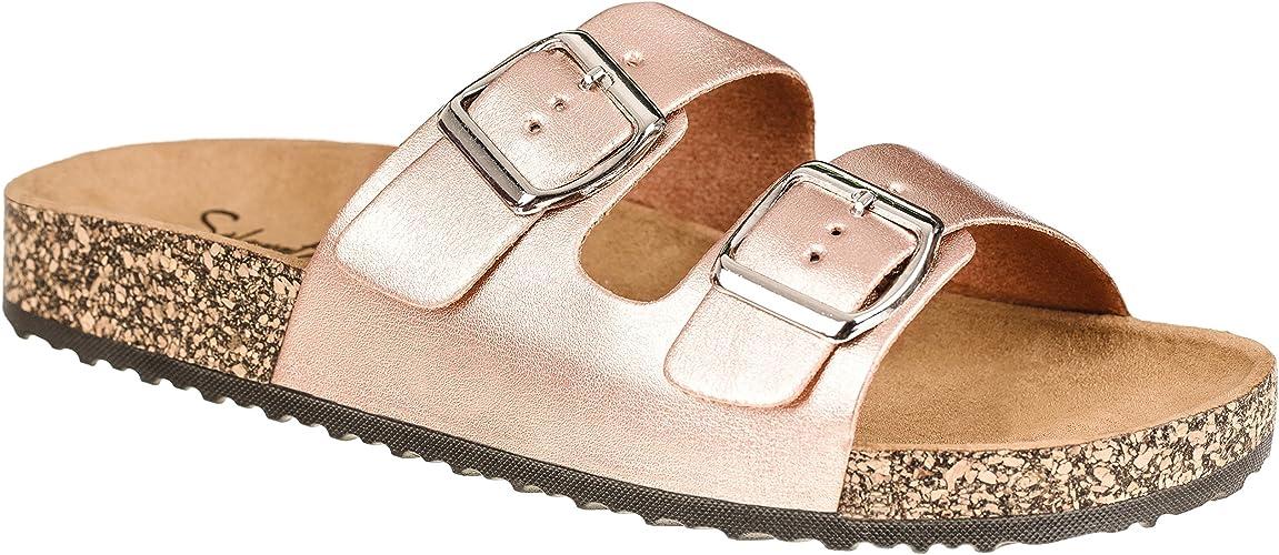 CLOVERLY Comfort Low Easy Slip On Sandal – Casual Cork Footbed Platform Sandal Flat – Trendy Open Toe Slide Sandal Shoes